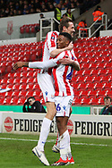 #26 Tyrese Campbell scores and celebrates the opening goal for Stoke City during the The FA Cup 3rd round replay match between Stoke City and Shrewsbury Town at the Bet365 Stadium, Stoke-on-Trent, England on 15 January 2019.