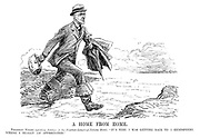 """A Home from Home. President Wilson (quitting America in his fourteen-League-of-Nations boots). """"It's time I was getting back to a hemisphere where I really am appreciated."""" (Wilson strides across the Atlantic from America to Europe after the end of WW1)"""