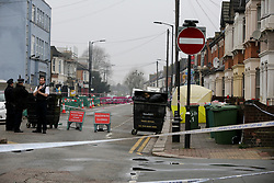 © Licensed to London News Pictures. 09/04/2019. London, UK. Crime scene on Church Road, Manor Park, East London where a man in his 20s was shot and stabbed to death on Monday 8 April 2019. Police were called around 9.30pm and the man was found with knife and gunshot wounds. The victim was pronounced dead at the scene. Photo credit: Dinendra Haria/LNP
