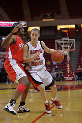 26 February 2009: Kristi Cirone pushes against Sonya Harris to get into the lane. The Braves of Bradley  and the Illinois State Redbirds battled it out on Doug Collins Court inside Redbird Arena on the campus of Illinois State University, Normal Il.