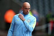 Manchester city goalkeeper Willy Caballero arrives ahead of the game.EFL Cup. 3rd round match, Swansea city v Manchester city at the Liberty Stadium in Swansea, South Wales on Wednesday 21st September 2016.<br /> pic by  Andrew Orchard, Andrew Orchard sports photography.