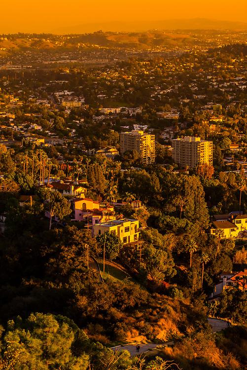 Buildings below Griffith Park, Los Angeles, California USA.