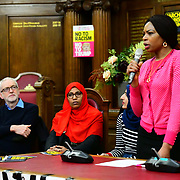 Speaker Jeremy Corbyn MP, Rakhia Ismail, Michelline Ngongo at the  Stand Up To Racism  hosts Challenging the hostile environment and racism will democracy breaking its own law with Jeremy Corbyn labelling Brexit European  stealing job, Migrant rapist, Muslim terrorists, Muslim Grooming, African/Black is a criminal or rapist, Chinese the #coronavirus and let the refugees drown at Islington Town Hall on 6 March 2020, London, UK.