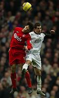 Fotball<br /> England 2004/2005<br /> Foto: SBI/Digitalsport<br /> NORWAY ONLY<br /> <br /> Liverpool v Fulham<br /> Barclays Premiership. 05/02/2005. <br /> <br /> Fernando Morientes of Liverpool jumps for a header with Carlos Bocanegra of Fulham.