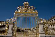 The golden gates of the Palace of Versaille, near Paris. Replicas of the original 80m wrought iron and gold leaf gates grace the entrance to Louix XVI's former power base. A total of 100,000 gold leaves were crafted into the shapes of fleur de lys, crowns, masks of Apollo, cornucopias and the crossed capital Ls representing the Sun King. Private donors contributed £4 million to rebuild the 15-ton work, and a plethora of historians and top craftsmen - sculptors, gilders, wrought iron craftsmen and ornament makers - were drafted in to ensure an exact replica of the original built by Jules Hardouin-Mansart in the 1680s.