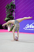 Rita Araujo from Portugal is competing in Rhythmic Gymnastics Individual World Cup at Vitrifrigo Arena on May 2021, Pesaro, Italy. She was born in Almada in 2003.