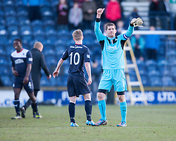 Falkirk's keeper Michael McGovern at the end.<br /> Raith Rovers 2 v 4 Falkirk, Scottish Championship game today at Starks Park.<br /> © Michael Schofield.