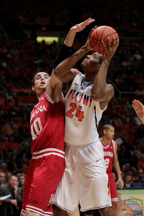 05 March 2011: Illinois Fighting Illini forward Mike Davis (24) as the Indiana Hoosiers played the Illinois Illini in a college basketball game in Champaign, Ill.