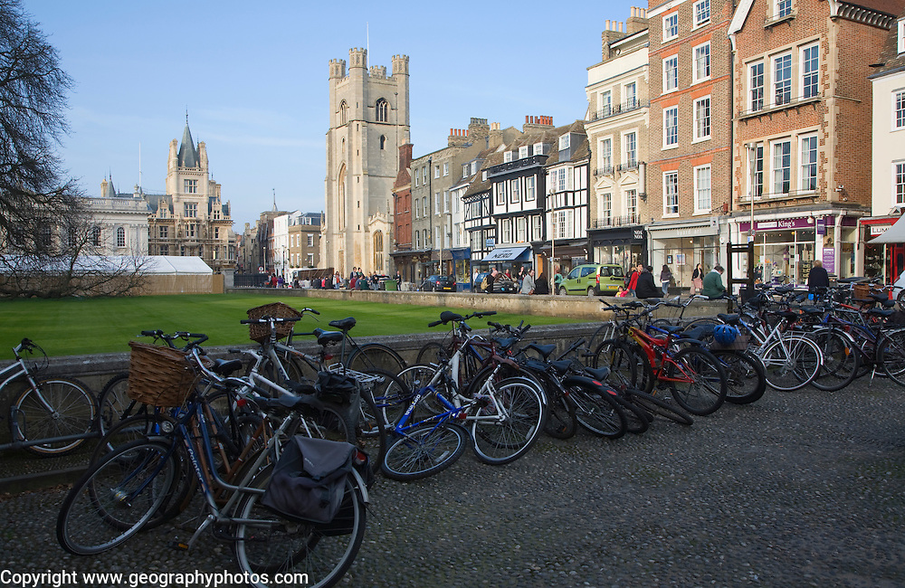 View over bicycles of King's Parade and Great St Mary's church, Cambridge, England