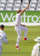 Gareth Berg (Hampshire CCC) celebrates after taking the wicket of Scott Borthwick (Durham County Cricket Club) during the LV County Championship Div 1 match between Durham County Cricket Club and Hampshire County Cricket Club at the Emirates Durham ICG Ground, Chester-le-Street, United Kingdom on 1 September 2015. Photo by George Ledger.