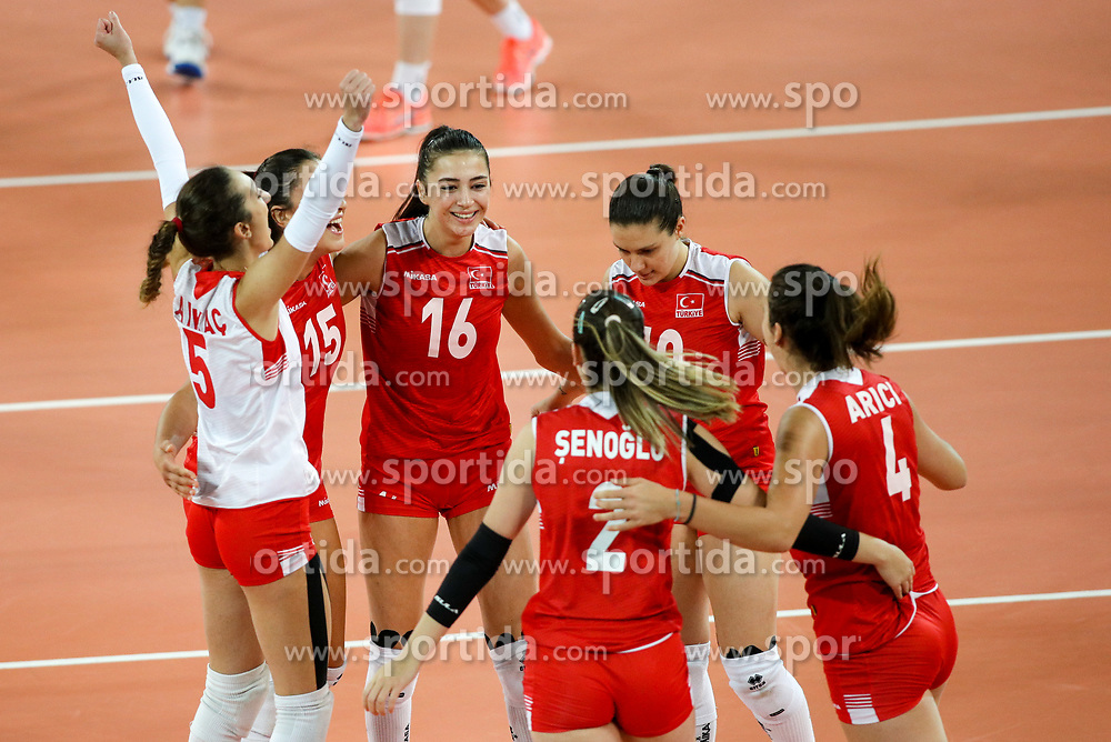 Players of Turkey celebrate during the volleyball match between National team of Turkey and Slovenia in Gold Medal game of Womens U23 World Championship 2017, on September 17, 2017 in SRC Stozice, Ljubljana, Slovenia. Photo by Morgan Kristan / Sportida