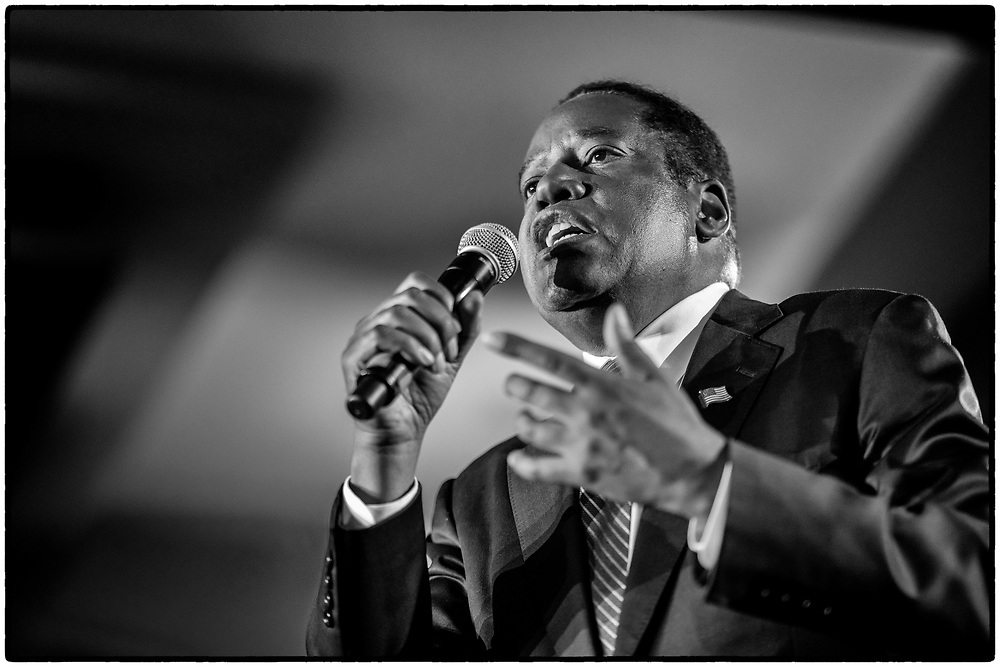 Larry Elder speaks at his election night party on September 14, 2021 at the Orange County Hilton in Costa Mesa, California.