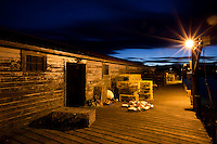 lobster traps and pier, bass harbor maine at night