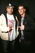 l to r: DJ Cipha Sounds and Donnie Klang at the South Pole Fashion show during ' The Stay in School Concert ' facilated by Entertainers for Education held at The Manhattan Center on October 28, 2008 in New York City