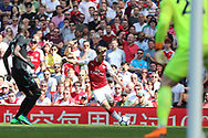 Arsenal defender Nacho Monreal (18) shapes to deliver a cross  during the Premier League match between Arsenal and West Ham United at the Emirates Stadium, London, England on 22 April 2018. Picture by Bennett Dean.