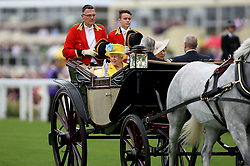 Queen Elizabeth II and Anne, Princess Royal arriving during day one of Royal Ascot at Ascot Racecourse.
