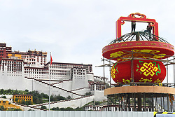 August 17, 2017 - Lhasa, Lhasa, China - Lhasa, CHINA-17th August 2017: (EDITORIAL USE ONLY. CHINA OUT) ..Parterres are set up at the Potala Palace in Lhasa, southwest China's Tibet, marking the upcoming Sho Dun Festival. The Sho Dun Festival will run from August 21st to 27th, 2017. (Credit Image: © SIPA Asia via ZUMA Wire)