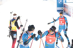 14.02.2021, Center Pokljuka, Pokljuka, SLO, IBU Weltmeisterschaften Biathlon, Sprint, Herren, im Bild jacquelin (emilien) (fra), fillon maillet (quentin) (fra) // during mens Sprint competition of IBU Biathlon World Championships at the Center Pokljuka in Pokljuka, Slovenia on 2021/02/14. EXPA Pictures © 2021, PhotoCredit: EXPA/ Pressesports/ Frederic Mons<br /> <br /> *****ATTENTION - for AUT, SLO, CRO, SRB, BIH, MAZ, POL only*****