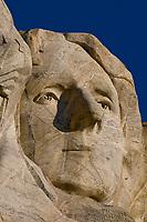 Face of Thomas Jefferson, Mount Rushmore National Memorial, Black Hills, South Dakota USA