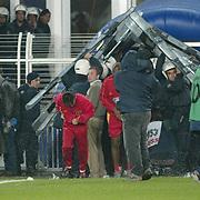 Turkish Soccer...<br /> Super League derby match Fenerbahce between Galatasaray. Galatasaray's runing problem  during their in Sukru Saracoglu Stadium Kadikoy Istanbul at Turkey.<br /> Photo by Aykut AKICI/TurkSporFoto