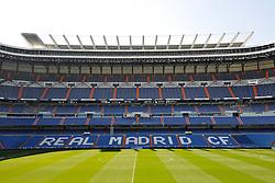 THEMENBILD, ESTADIO SANTIAGO BERNABEU, es ist das Fußballstadion des spanischen Vereins Real Madrid. Es liegt im Zentrum der Stadt Madrid im Viertel Chamartin. Seit der letzten Modernisierung im Jahr 2005 fasst es 80.354 Zuschauer und ist seit 14. November 2007 als UEFA-Elite-Stadion ausgezeichnet, der hoechsten Klassifikation des Europaeischen Fußballverbandes. Das Stadion wurde am 14. Dezember 1947 als Nuevo Estadio Chamartin mit 75.000 Plaetzen offiziell eroeffnet. Am 14. Januar 1955 stimmte die Mitgliederversammlung des Klubs für die Umbenennung des Stadions zu Ehren des damaligen Vereinspraesidenten Santiago Bernabeu, nach dessen Vision die Spielstaette gebaut wurde. Im Bild das Spielfeld mit Tribuenen, es ist der Schriftzug Real Madrid CF auf den Sitzplaetzen zu lesen. Bild aufgenommen am 27.03.2012. EXPA Pictures © 2012, PhotoCredit: EXPA/ Eibner/ Michael Weber..***** ATTENTION - OUT OF GER *****