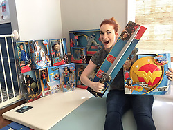 """Felicia Day releases a photo on Twitter with the following caption: """"""""Got some free stuff in the mail. Just a few items. Thanks Mattel. I like you."""""""". Photo Credit: Twitter *** No USA Distribution *** For Editorial Use Only *** Not to be Published in Books or Photo Books ***  Please note: Fees charged by the agency are for the agency's services only, and do not, nor are they intended to, convey to the user any ownership of Copyright or License in the material. The agency does not claim any ownership including but not limited to Copyright or License in the attached material. By publishing this material you expressly agree to indemnify and to hold the agency and its directors, shareholders and employees harmless from any loss, claims, damages, demands, expenses (including legal fees), or any causes of action or allegation against the agency arising out of or connected in any way with publication of the material."""