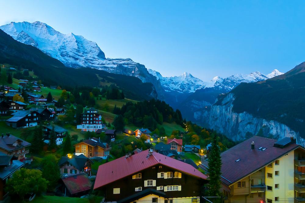 Sunrise in the Swiss Alps, Wengen, Canton Bern, Switzerland