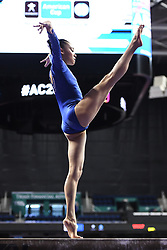 March 2, 2019 - Greensboro, North Carolina, US - LEANNE WONG practices on the balance beam before the competition at the Greensboro Coliseum in Greensboro, North Carolina. (Credit Image: © Amy Sanderson/ZUMA Wire)