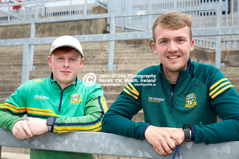2021-7-10, 2020 All Ireland MFC Semi-Final at Pairc Esler, Newry.<br /> Meath v Derry<br /> Meath supporters at the game, Brian Boyd & Ian Quinn<br /> Photo: David Mullen / www.quirke.ie ©John Quirke Photography, Proudstown Road Navan. Co. Meath. 046-9079044 / 087-2579454.<br /> ISO: 200; Shutter: 1/250; Aperture: 8;