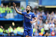 Cesc Fabregas of Chelsea celebrates after scoring from a penalty to make it 1-0. Barclays Premier league match, Chelsea v Leicester city at Stamford Bridge in London on Sunday 15th May 2016.<br /> pic by John Patrick Fletcher, Andrew Orchard sports photography.