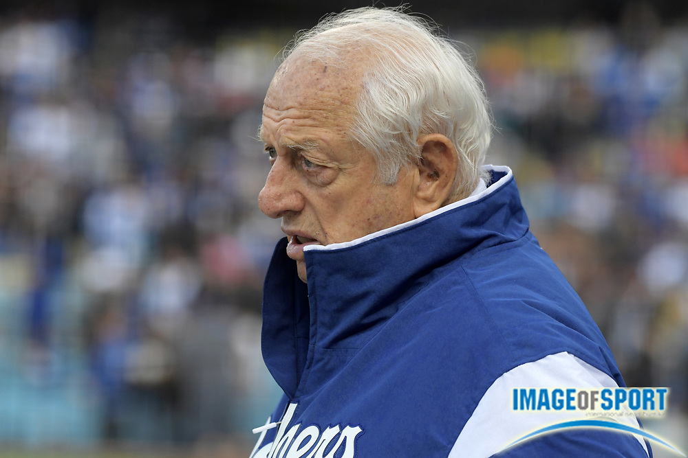 Apr 1, 2018; Los Angeles, CA, USA; Los Angeles Dodgers former manager Tommy Lasorda watches during a MLB baseball game against the San Francisco Giants  at Dodger Stadium.