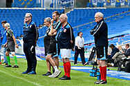 Tommy Charlton of England over 60's watching from the touchline during the world's first Walking Football International match between England and Italy at the American Express Community Stadium, Brighton and Hove, England on 13 May 2018. Picture by Graham Hunt.