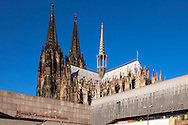 Europe, Deutschland, Nordrhein-Westfalen, Koeln, das Roemisch-Germanische Museum und das Museum Ludwig, der Dom.<br /> <br /> Europe, Germany, Cologne, North Rhine-Westphalia, the Roman-Germanic Museum and the Museum Ludwig, the cathedral.