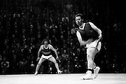 Action during the Senior Handball Championship final at Croke Park. The final was contested between Pat Kirby of Ennis, Co Clare and Pat Murphy of Wexford (in hooped shirt). Murphy was the eventual winner. <br />