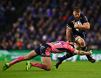 Rugby Union - 2017 / 2018 European Rugby Champions Cup - Pool Three: Leinster vs. Exeter Chiefs<br /> <br /> Leinster's Sean O'Brien in action against Exeter's Henry Slade, at Aviva Stadium, Dublin.<br /> <br /> COLORSPORT/KEN SUTTON