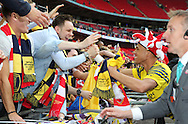 Arsenal's Kieran Gibbs with the fans during the The FA Cup match between Arsenal and Aston Villa at Wembley Stadium, London, England on 30 May 2015. Photo by Phil Duncan.