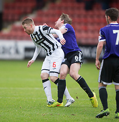 Dunfermline's Andy Geggan tackles Ayr United's Jamie Adams. <br /> Dunfermline 3 v 2 Ayr United, Scottish League One played at East End Park, 13/2/2016.