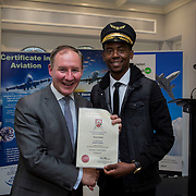 24.05.2018.       <br /> The Limerick Institute of Technology with Atlantic Air Adventures and funding from the Aviation Skillnet presented over forty certificates to Aviation professionals who have completed the Certificate in Aviation, The Aircraft Records Technician Level 7 and Part 21 Design, Level 7.<br /> <br /> Pictured at the event was Jim Gavin, The Irish Aviation Authority and Manager of the Dublin Football Team who presented, Vincent Banda with their cert.<br /> <br /> LIT in partnership with Atlantic Air Adventures, CAE Parc Aviation, Part 21 Design and industry experts such as Anton Tams, GECAS, Don Salmon, CAE Parc Aviation and Mick Malone, Part 21 Design have developed and deliver these key training programmes with funding for aviation companies provided by The Aviation Skillnet.<br /> <br /> . Picture: Alan Place