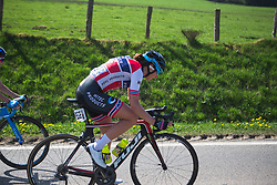 Vita Heine (NOR) of Hitec Products Cycling Team digs deep during Liege-Bastogne-Liege - a 136 km road race, between Bastogne and Ans on April 22, 2018, in Wallonia, Belgium. (Photo by Balint Hamvas/Velofocus.com)