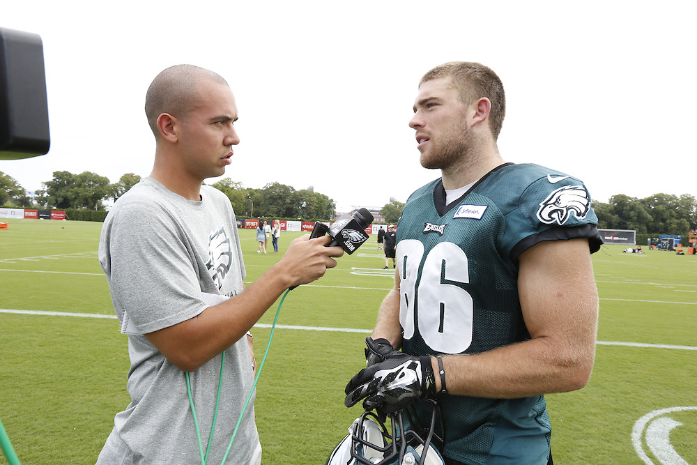 Philadelphia Eagles tight end Zach Ertz #86 is interviewed by Chris McPherson after the Philadelphia Eagles Training Camp Practice at the Novacare Complex in Philadelphia on Friday August 15th 2014. (Brian Garfinkel/Philadelphia Eagles)