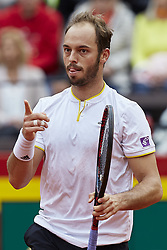 April 7, 2018 - Valencia, Valencia, Spain - Tim Putz of Germany celebrates a point in his doubles match with Jan-Lennard Struff  against Feliciano Lopez and Marc Lopez of Spain during day two of the Davis Cup World Group Quarter Finals match between Spain and Germany at Plaza de Toros de Valencia on April 7, 2018 in Valencia, Spain  (Credit Image: © David Aliaga/NurPhoto via ZUMA Press)