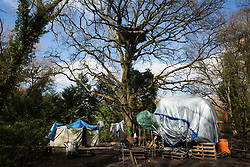Denham, UK. 22nd March, 2021. Dwellings which are expected to be evicted by bailiffs from the National Eviction Team (NET) during a large security operation with Thames Valley Police to remove activists opposed to the HS2 high-speed rail link who are seeking to delay electricity pylon relocation works by Babcock in Denham Country Park.