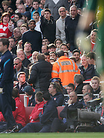 20120226: LONDON, UK - Barclays Premier League 2011/2012: Arsenal vs Tottenham.<br /> In photo: Tottenhams Harry Redknapp complains to the stewards about the abuse he receives from the crowd.<br /> PHOTO: CITYFILES