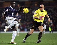 Fotball<br /> Foto: SBI/Digitalsport<br /> NORWAY ONLY<br /> <br /> Watford v Wolverhampton Wanderers<br /> The Coca-Cola Football League Championship. <br /> Vicarage Road Stadium.<br /> 11/12/2004<br /> <br /> l-r Wolves' Carl Cort and Watford's Gavin Mahon