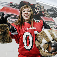 Clear Brook High School mascot Madison Turner shows off her Wolverine moves in the weight room of the school.  Turner placed second-runner up during the Houston Mascot Challenge sponsored by Capital One and won $3,000 for the school in Turner's name.
