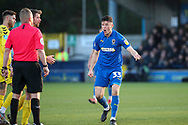 AFC Wimbledon midfielder Callum Reilly (33) talking to the ref during the EFL Sky Bet League 1 match between AFC Wimbledon and Fleetwood Town at the Cherry Red Records Stadium, Kingston, England on 8 February 2020.