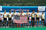 Aiguebelette, FRANCE  Gold  medallist, USA M8+ at the 2014 FISA World Cup II. 14:34:48  Sunday  22/06/2014. [Mandatory Credit; Peter Spurrier/Intersport-images]