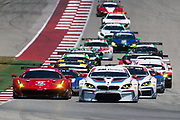 May 4-6, 2017: IMSA Sportscar Showdown at Circuit of the Americas. Start of the GTLM and GTD race at COTA with 24 BMW Team RLL, John Edwards, Martin Tomczyk leading 62 Risi Competizione, Ferrari 488 GTE, Toni Vilander, Giancarlo Fisichella