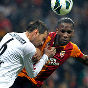 Galatasaray's Tebily Didier Yves Drogba (R) during their Turkish Super League soccer match Galatasaray between Genclerbirligi at the TT Arena at Seyrantepe in Istanbul Turkey on Friday, 08 March 2013. Photo by Aykut AKICI/TURKPIX