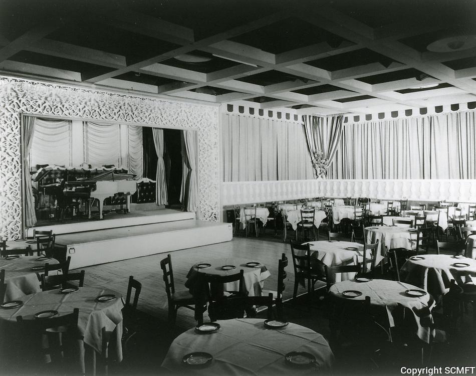 1955 Interior of Ciro's Nightclub on Sunset Blvd. in West Hollywood